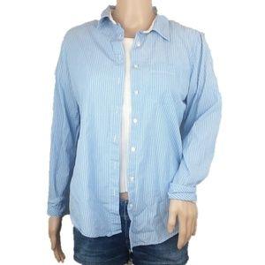 GAP Blue Striped Button Down Shirt